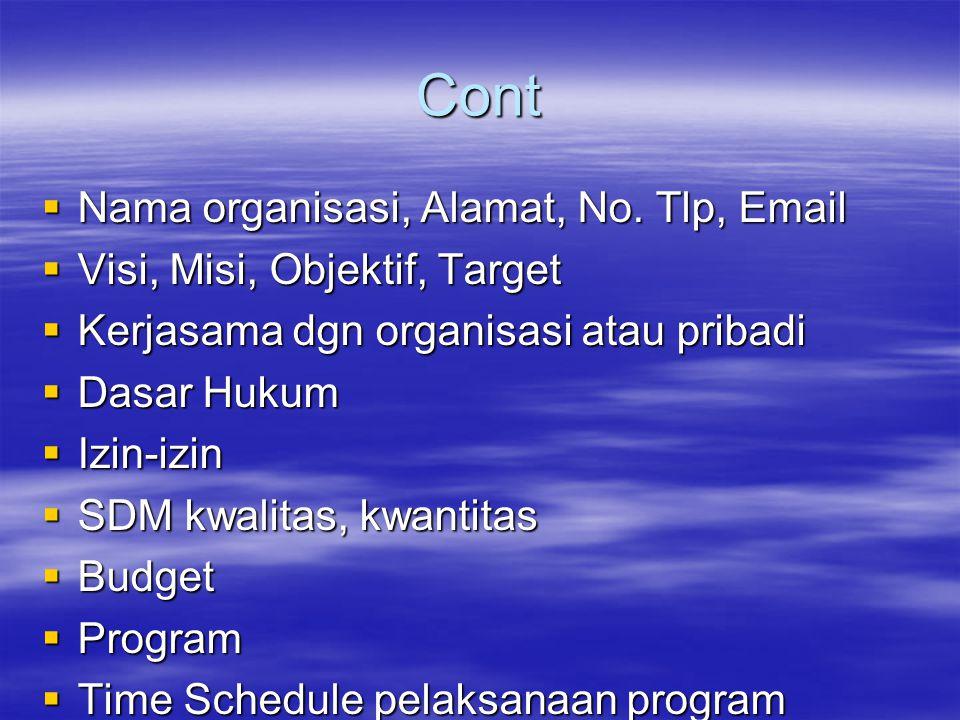 Cont Nama organisasi, Alamat, No. Tlp, Email