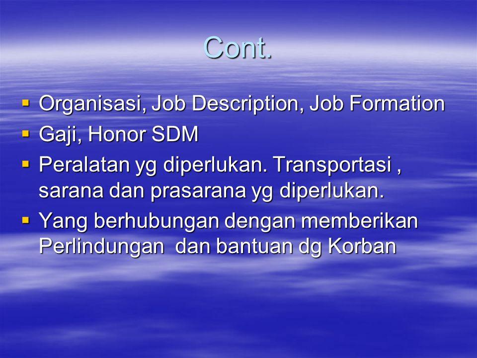 Cont. Organisasi, Job Description, Job Formation Gaji, Honor SDM
