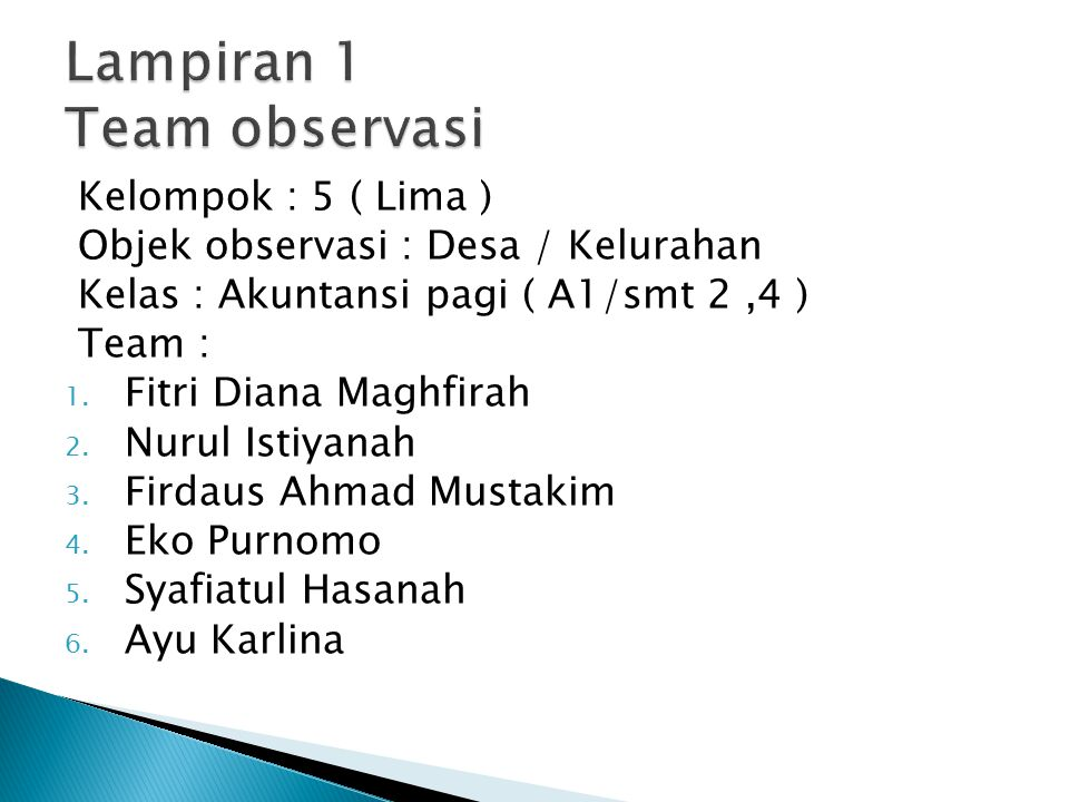 Lampiran 1 Team observasi