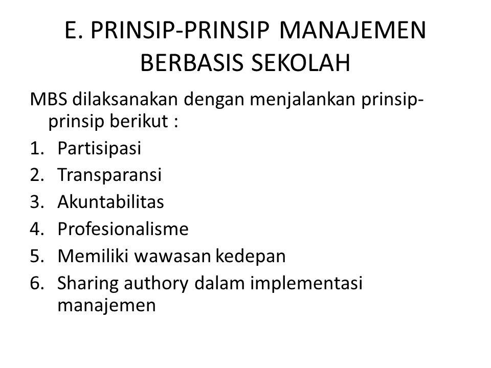 E. PRINSIP-PRINSIP MANAJEMEN BERBASIS SEKOLAH