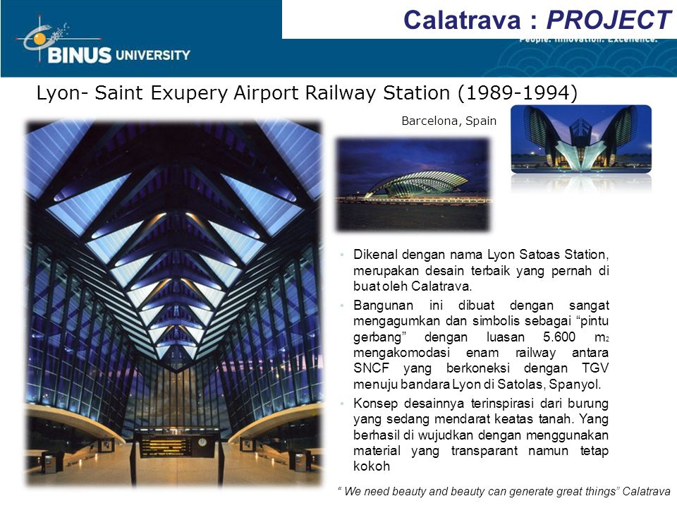 Calatrava : PROJECT Lyon- Saint Exupery Airport Railway Station (1989-1994) Barcelona, Spain.