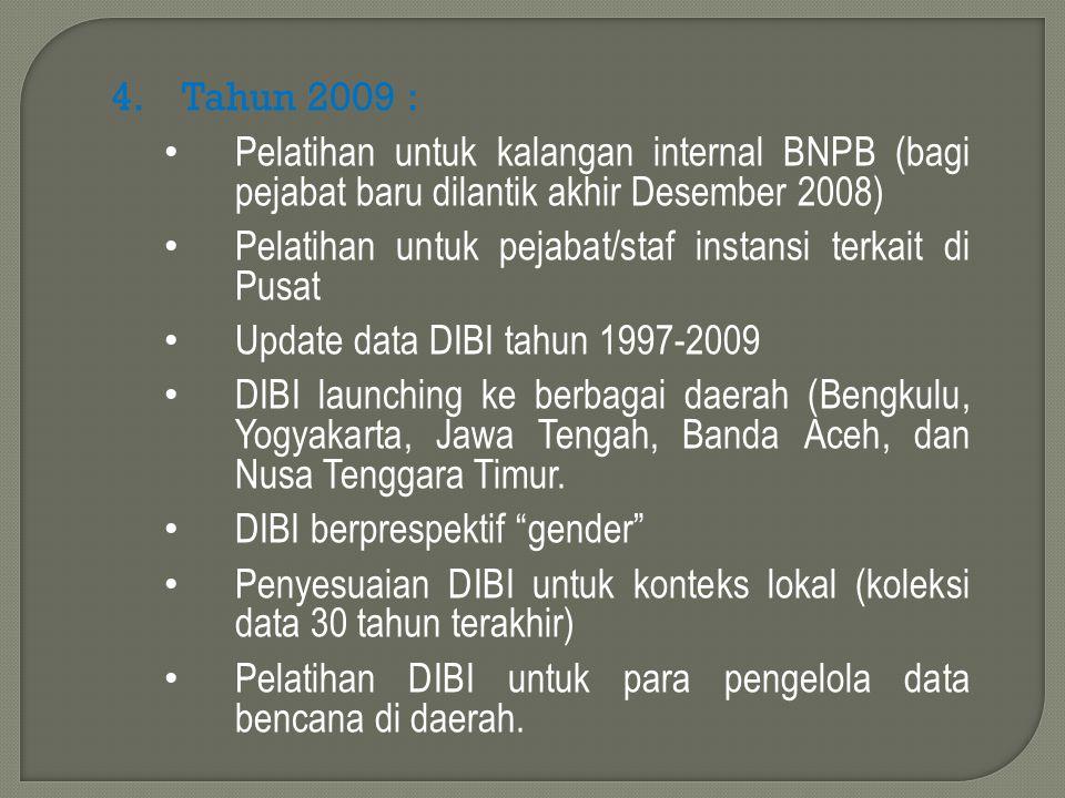 Tahun 2009 : Pelatihan untuk kalangan internal BNPB (bagi pejabat baru dilantik akhir Desember 2008)