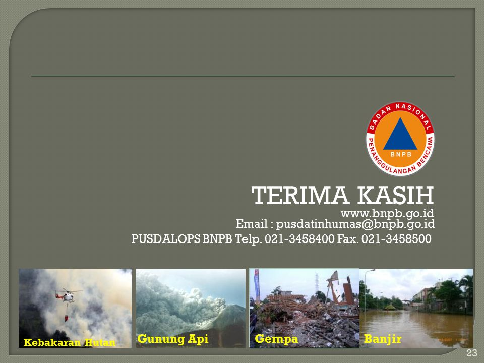 TERIMA KASIH www.bnpb.go.id
