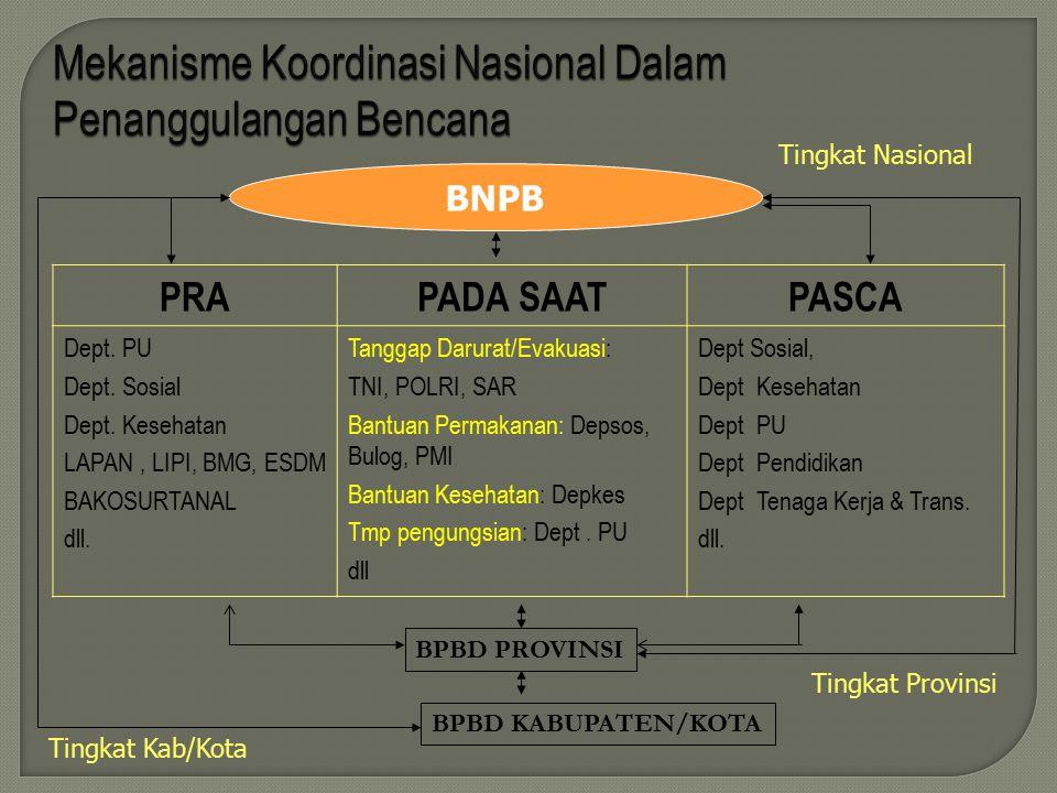 Mekanisme Koordinasi Nasional Dalam Penanggulangan Bencana