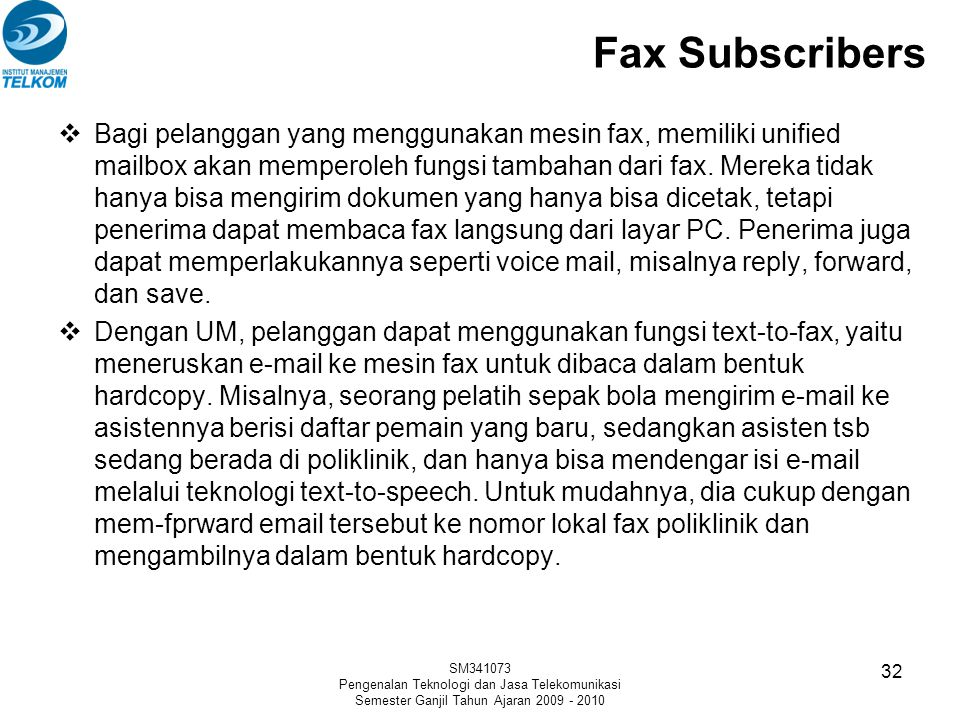 Fax Subscribers