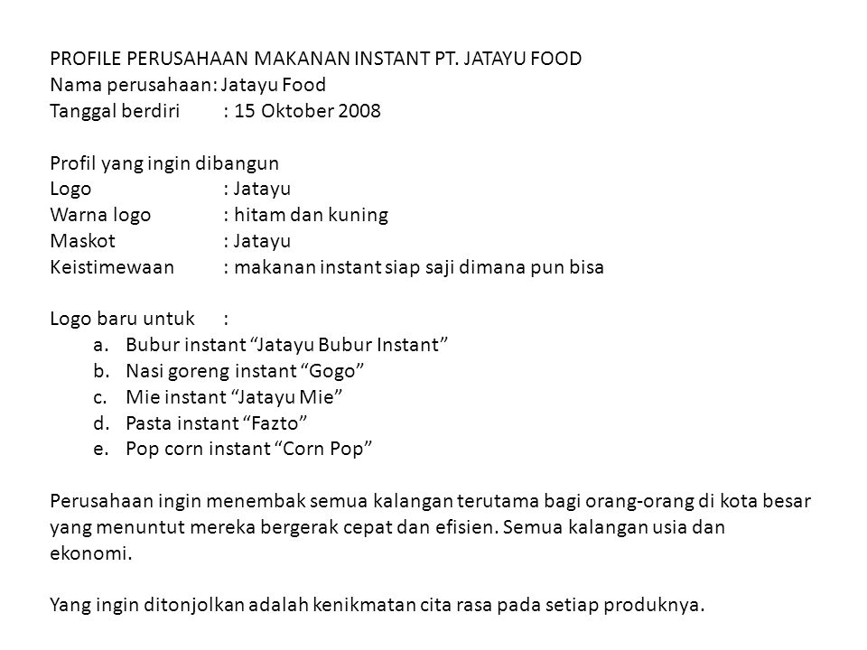 PROFILE PERUSAHAAN MAKANAN INSTANT PT. JATAYU FOOD