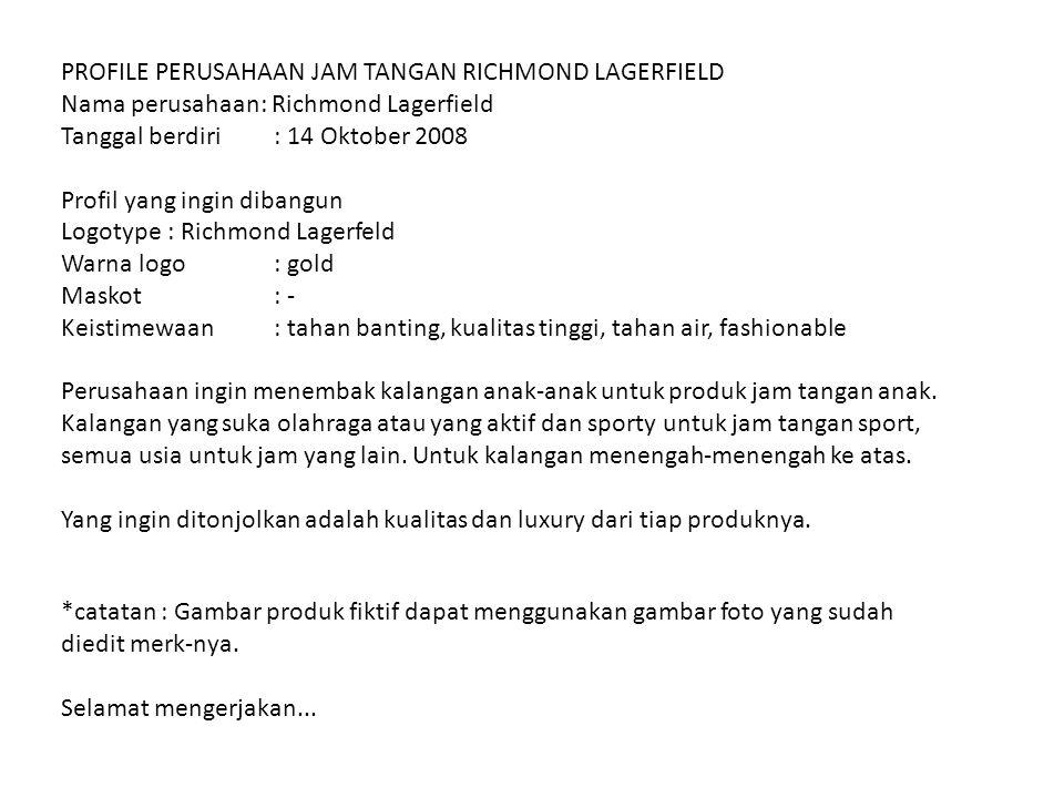 PROFILE PERUSAHAAN JAM TANGAN RICHMOND LAGERFIELD