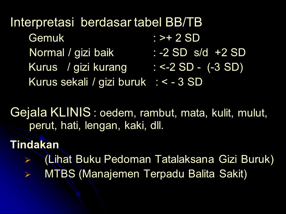 Interpretasi berdasar tabel BB/TB