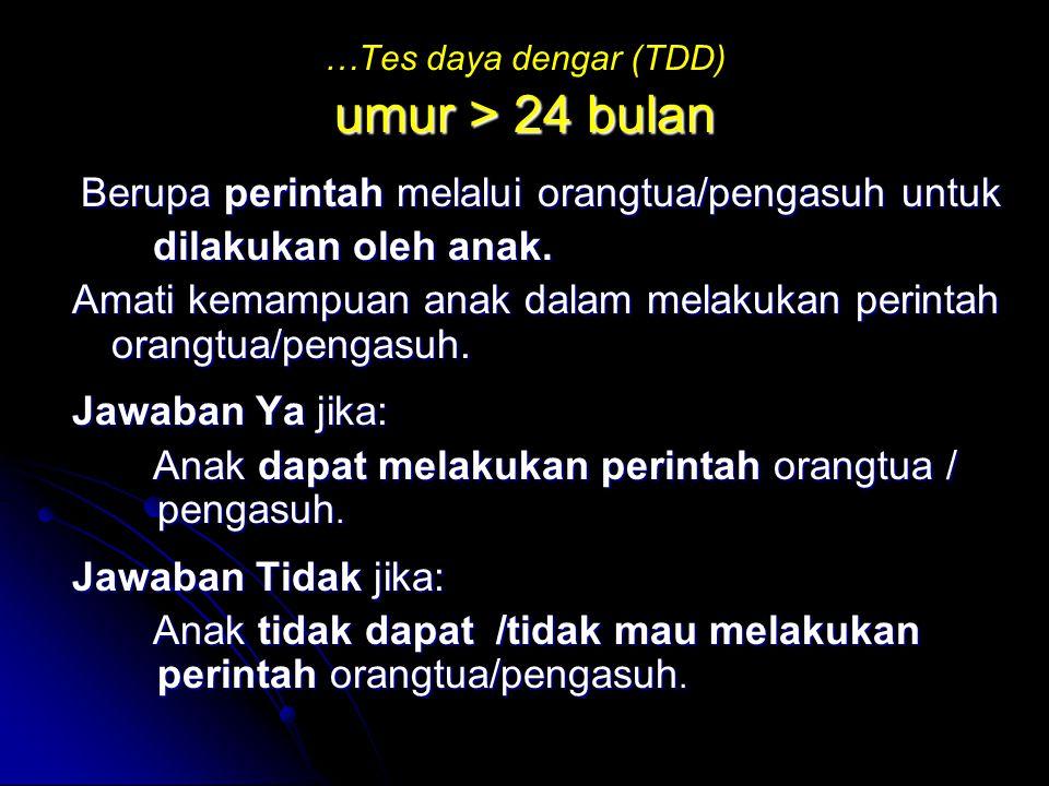 …Tes daya dengar (TDD) umur > 24 bulan