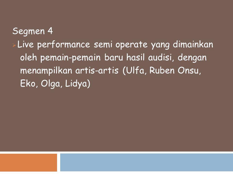 Segmen 4 Live performance semi operate yang dimainkan. oleh pemain-pemain baru hasil audisi, dengan.
