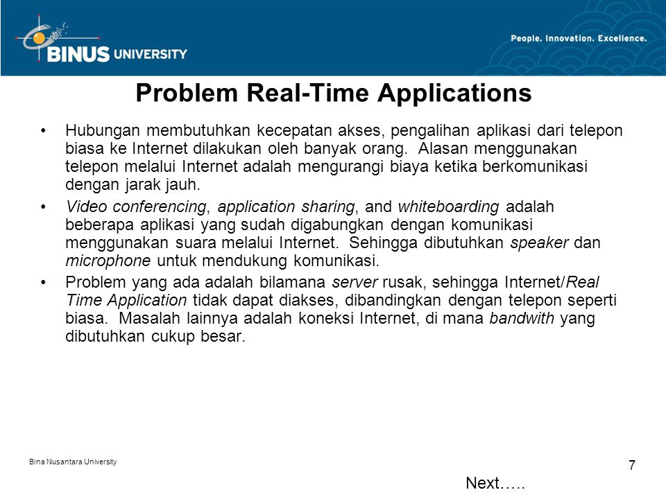 Problem Real-Time Applications