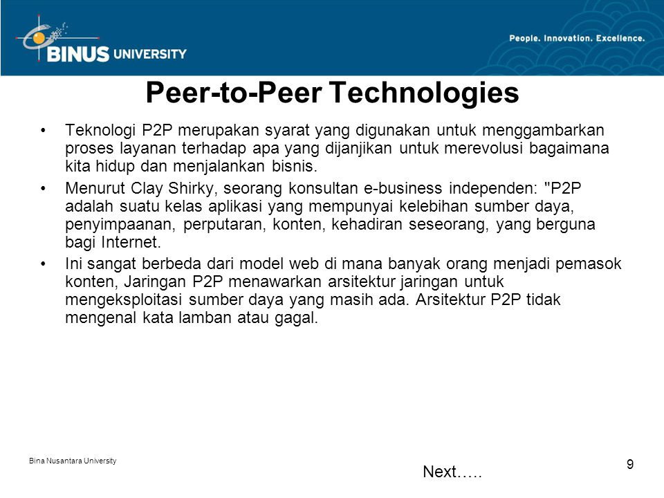 Peer-to-Peer Technologies