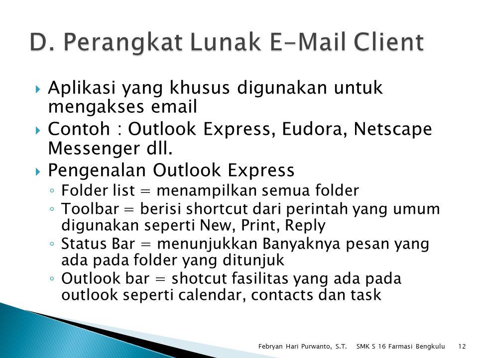 D. Perangkat Lunak E-Mail Client