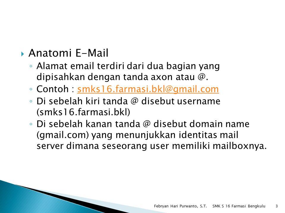 Anatomi E-Mail Alamat email terdiri dari dua bagian yang dipisahkan dengan tanda axon atau @. Contoh : smks16.farmasi.bkl@gmail.com.