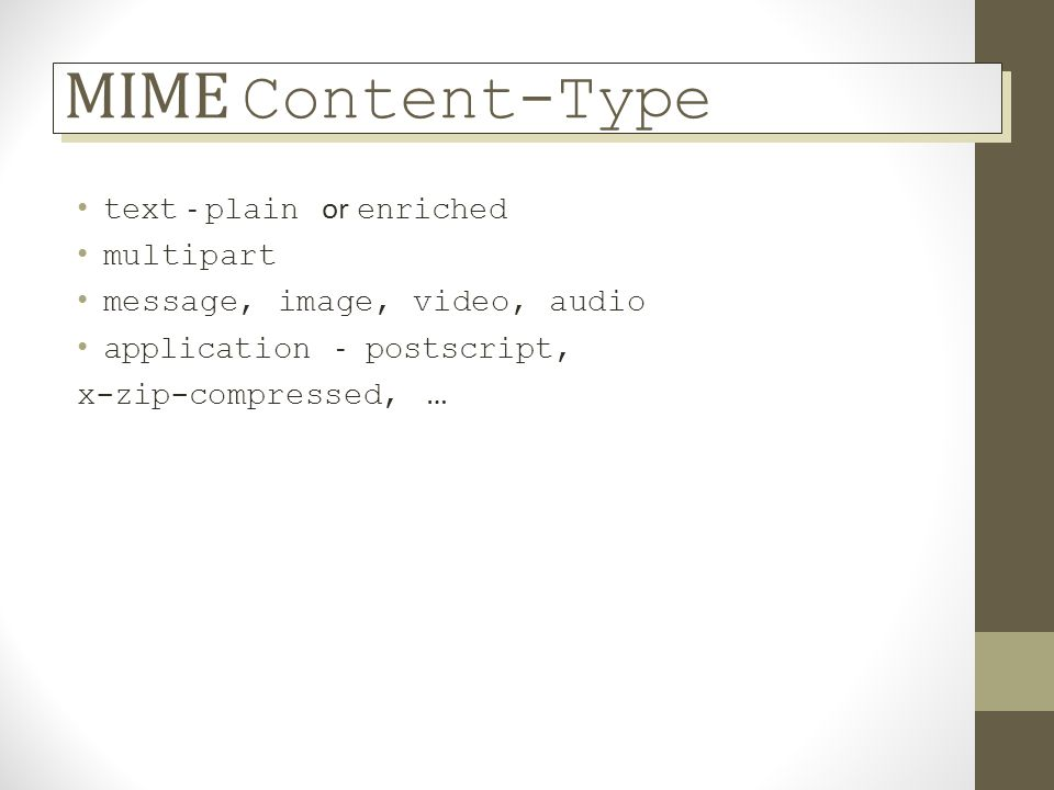 MIME Content-Type text - plain or enriched multipart