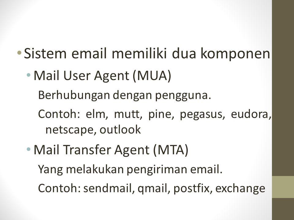 Sistem email memiliki dua komponen
