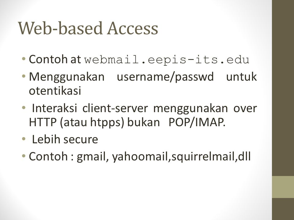 Web-based Access Contoh at webmail.eepis-its.edu