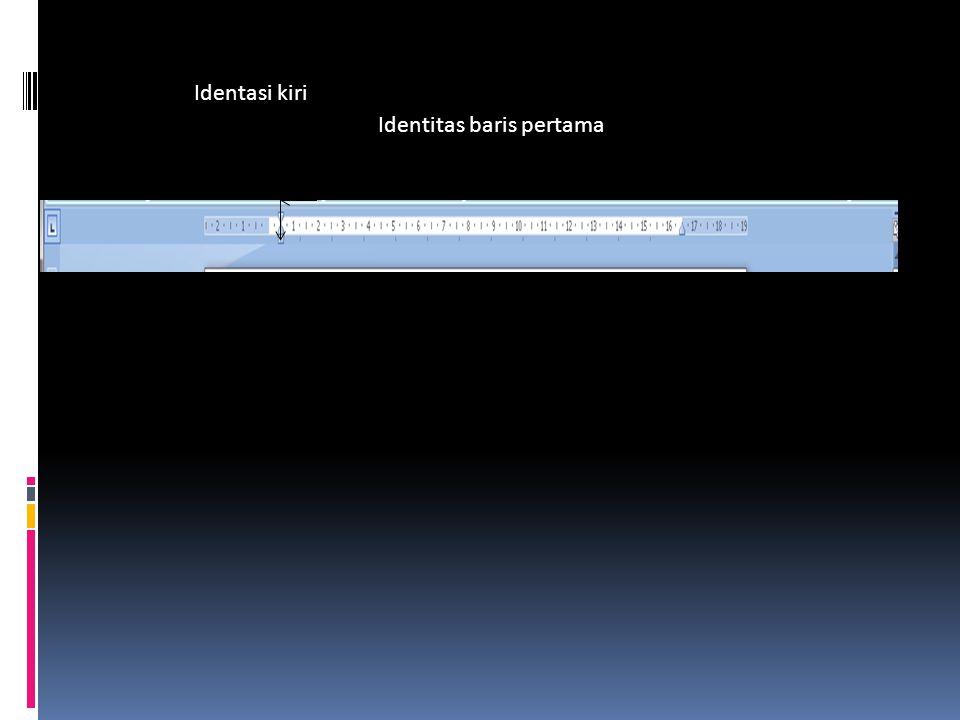 Identasi kiri Identitas baris pertama