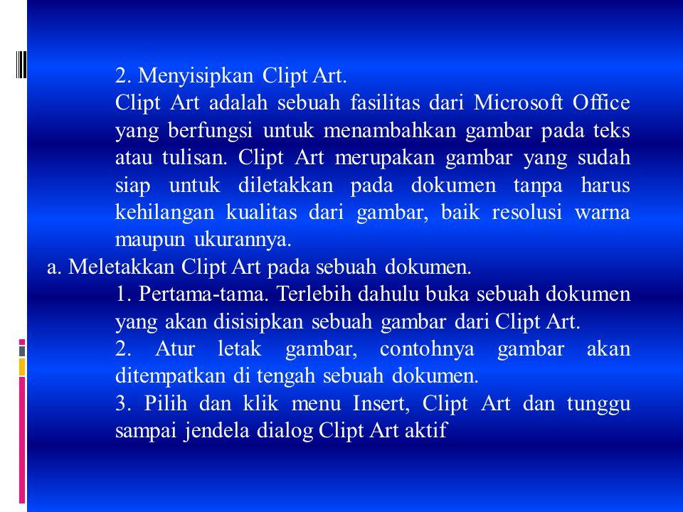 2. Menyisipkan Clipt Art.