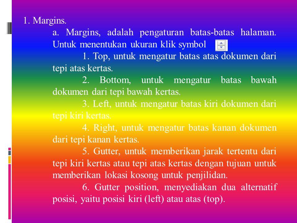 1. Margins. a. Margins, adalah pengaturan batas-batas halaman. Untuk menentukan ukuran klik symbol.