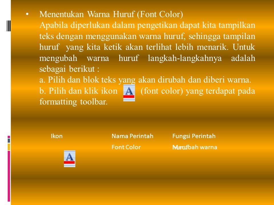 Menentukan Warna Huruf (Font Color)