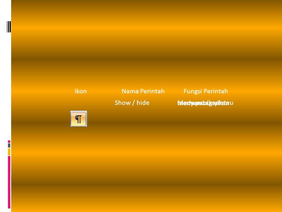Ikon Nama Perintah Fungsi Perintah Show / hide Memunculkan atau menyembunyikan tanda paragraf