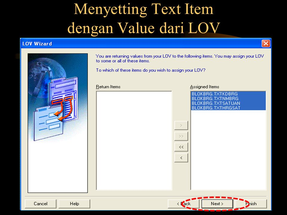 Menyetting Text Item dengan Value dari LOV