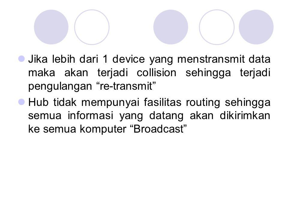 Jika lebih dari 1 device yang menstransmit data maka akan terjadi collision sehingga terjadi pengulangan re-transmit