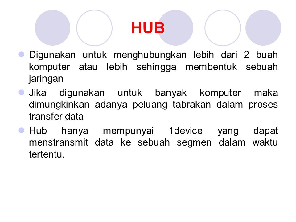 HUB Digunakan untuk menghubungkan lebih dari 2 buah komputer atau lebih sehingga membentuk sebuah jaringan.