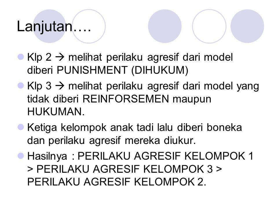 Lanjutan…. Klp 2  melihat perilaku agresif dari model diberi PUNISHMENT (DIHUKUM)
