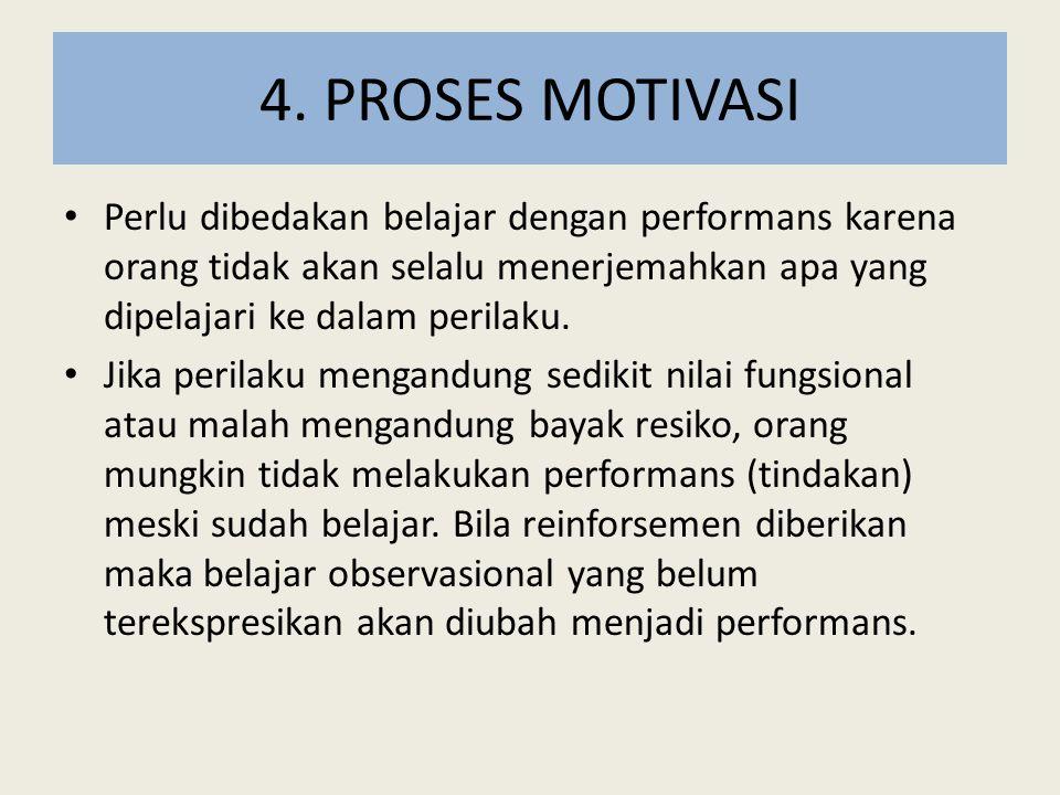 4. PROSES MOTIVASI Perlu dibedakan belajar dengan performans karena orang tidak akan selalu menerjemahkan apa yang dipelajari ke dalam perilaku.