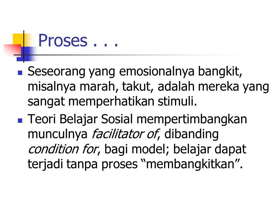 Proses . . . Seseorang yang emosionalnya bangkit, misalnya marah, takut, adalah mereka yang sangat memperhatikan stimuli.