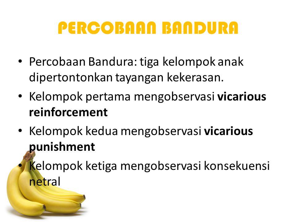 PERCOBAAN BANDURA Percobaan Bandura: tiga kelompok anak dipertontonkan tayangan kekerasan. Kelompok pertama mengobservasi vicarious reinforcement.