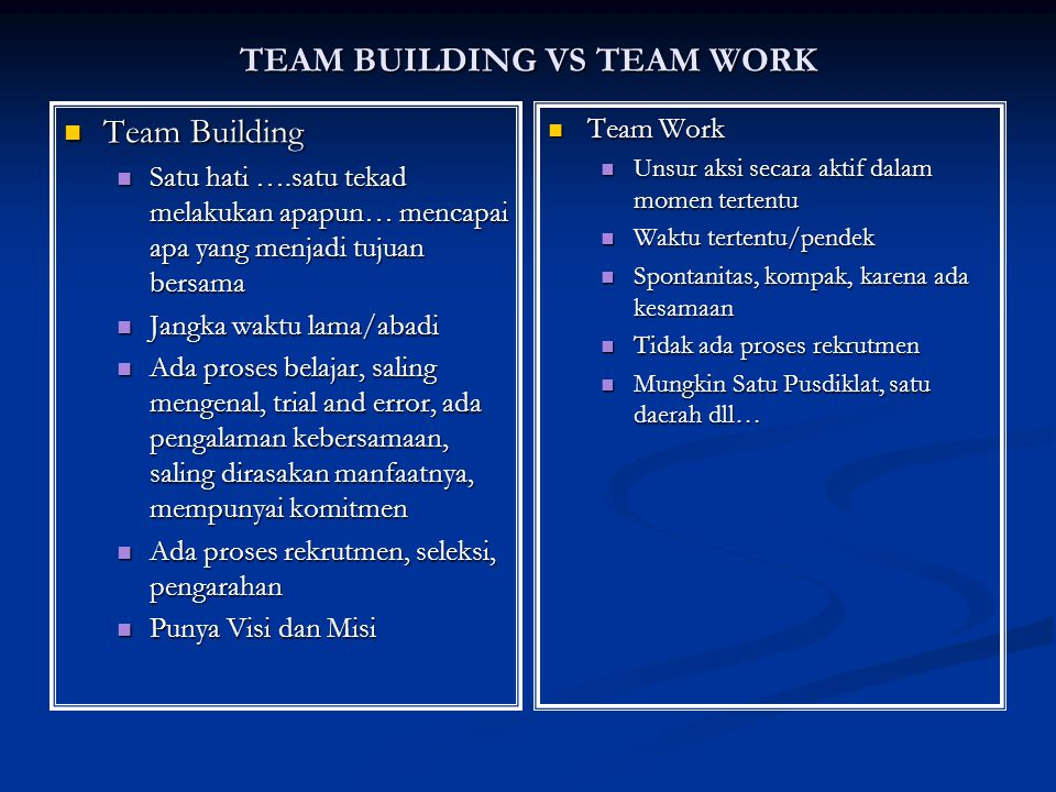 TEAM BUILDING VS TEAM WORK