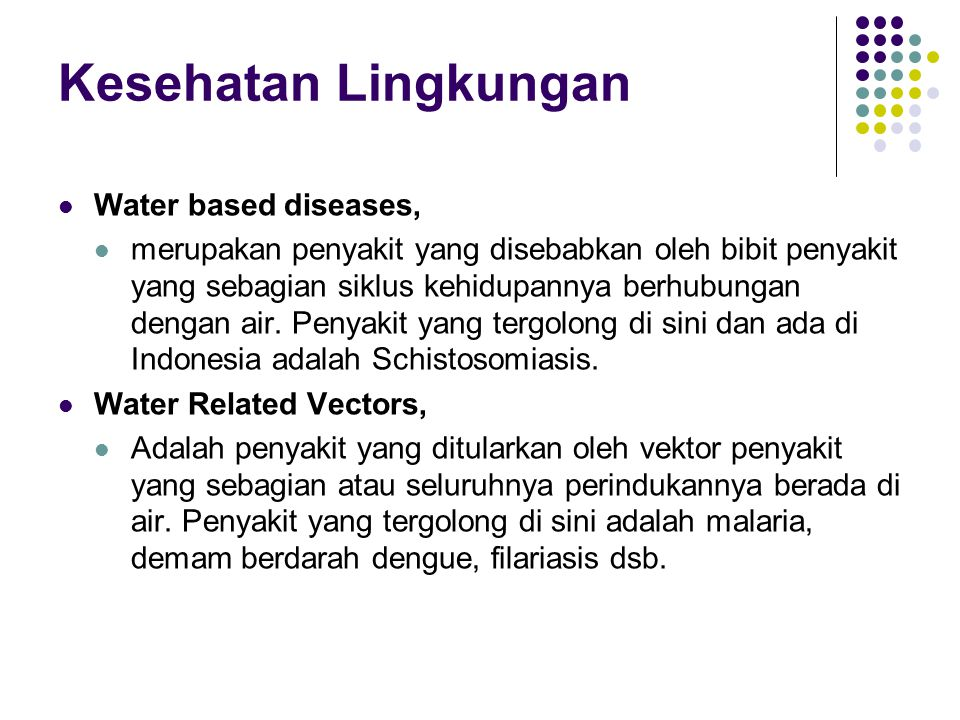 Kesehatan Lingkungan Water based diseases,