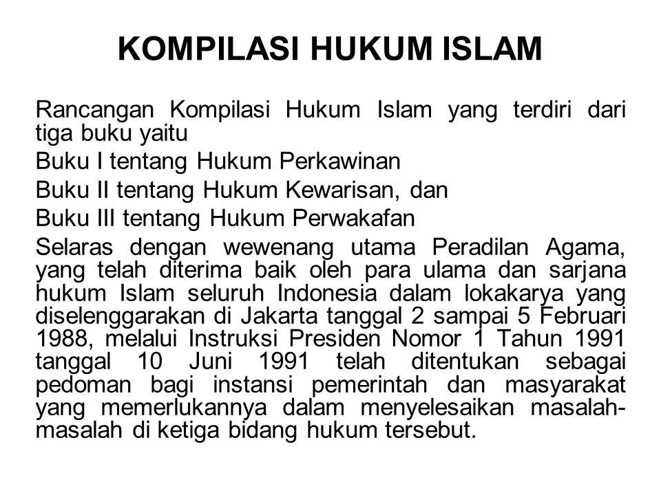 KOMPILASI HUKUM ISLAM Rancangan Kompilasi Hukum Islam yang terdiri dari tiga buku yaitu. Buku I tentang Hukum Perkawinan.