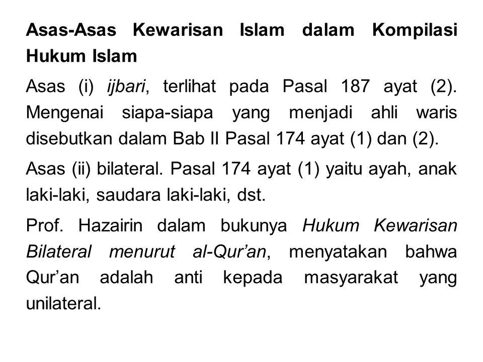 Asas-Asas Kewarisan Islam dalam Kompilasi Hukum Islam