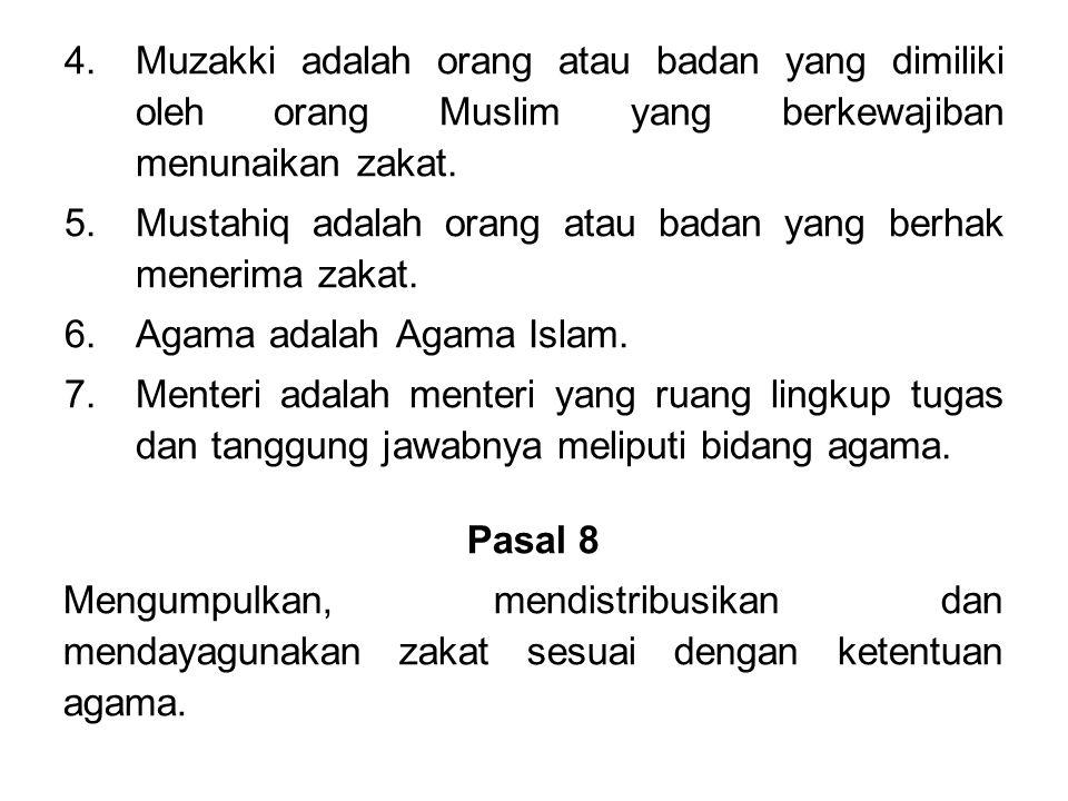 Muzakki adalah orang atau badan yang dimiliki oleh orang Muslim yang berkewajiban menunaikan zakat.
