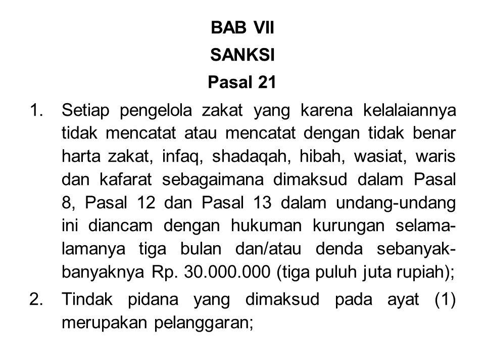 BAB VII SANKSI. Pasal 21.
