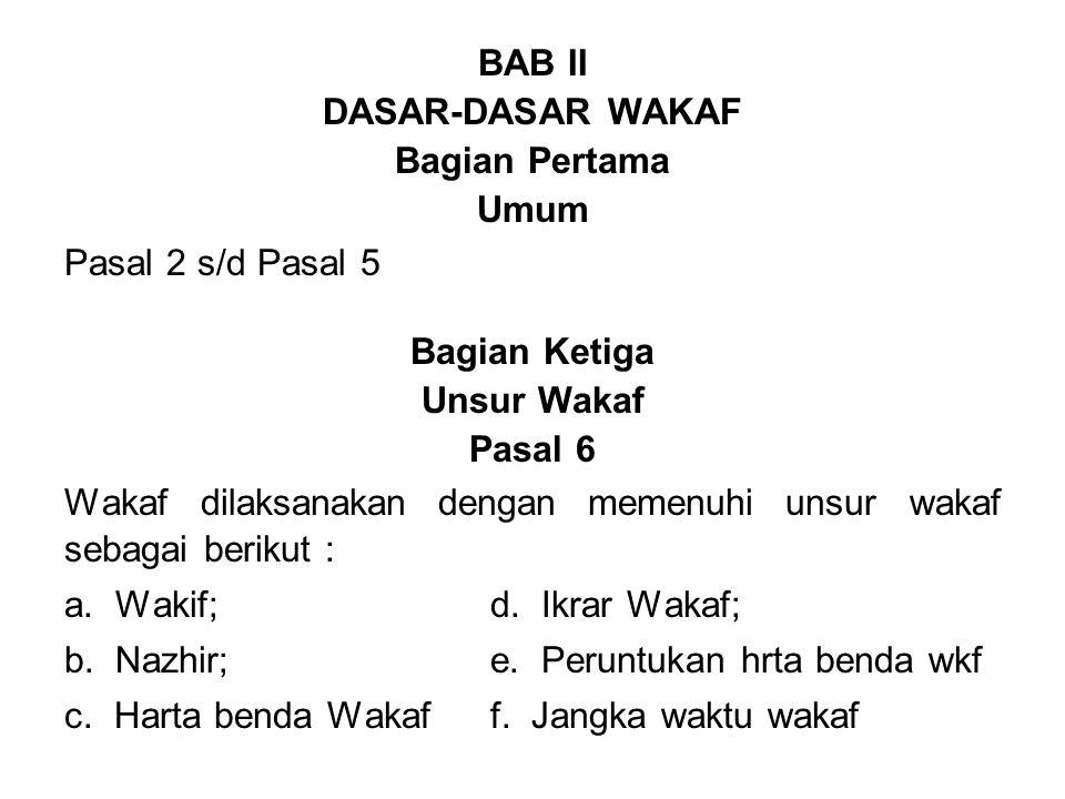 BAB II DASAR-DASAR WAKAF. Bagian Pertama. Umum. Pasal 2 s/d Pasal 5. Bagian Ketiga. Unsur Wakaf.