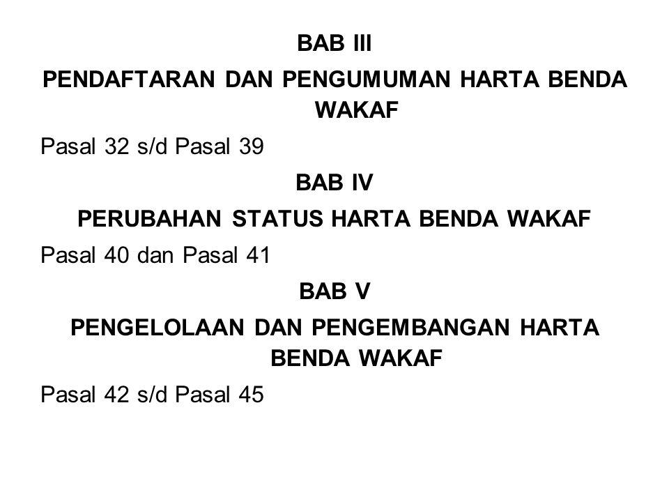 PENDAFTARAN DAN PENGUMUMAN HARTA BENDA WAKAF Pasal 32 s/d Pasal 39