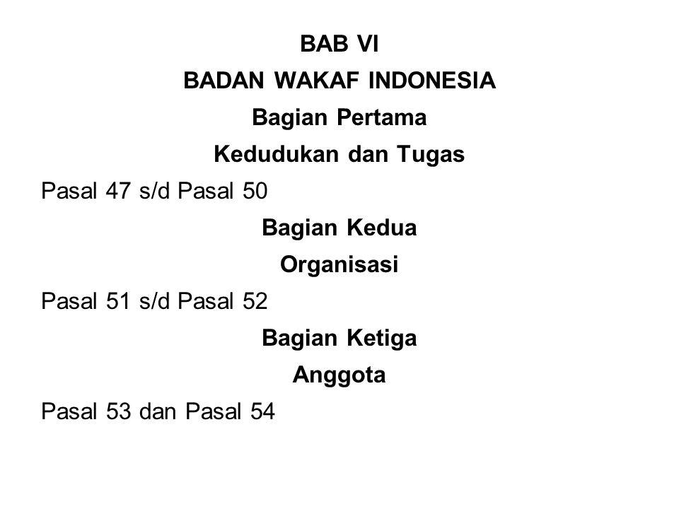 BAB VI BADAN WAKAF INDONESIA. Bagian Pertama. Kedudukan dan Tugas. Pasal 47 s/d Pasal 50. Bagian Kedua.