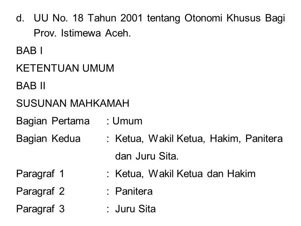 UU No. 18 Tahun 2001 tentang Otonomi Khusus Bagi Prov. Istimewa Aceh.