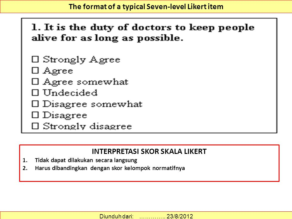 The format of a typical Seven-level Likert item