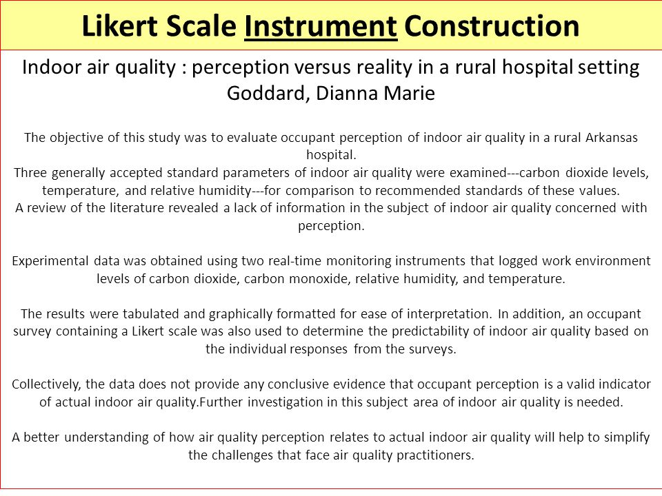 Likert Scale Instrument Construction