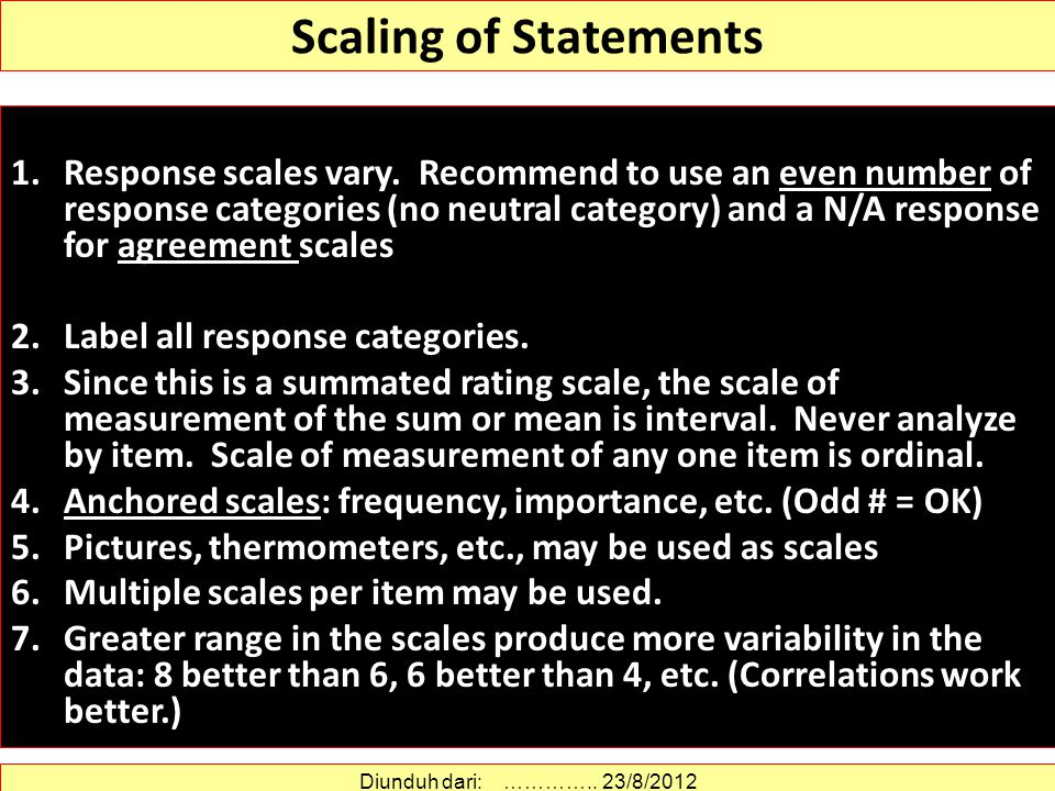 Scaling of Statements
