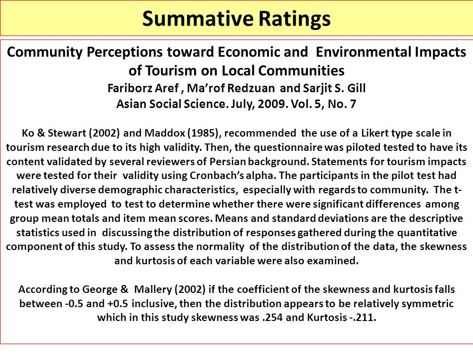 Summative Ratings Community Perceptions toward Economic and Environmental Impacts of Tourism on Local Communities.