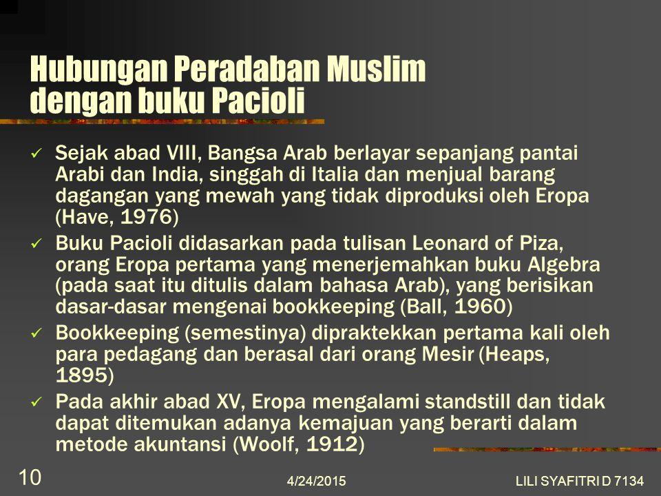 Hubungan Peradaban Muslim dengan buku Pacioli