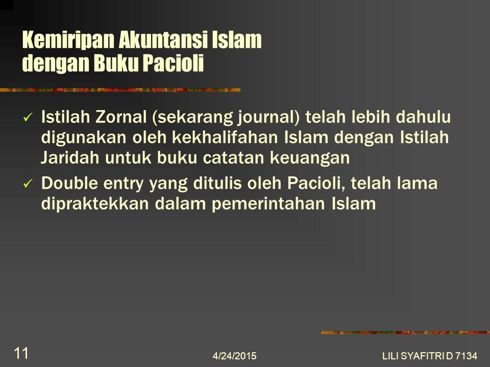 Kemiripan Akuntansi Islam dengan Buku Pacioli