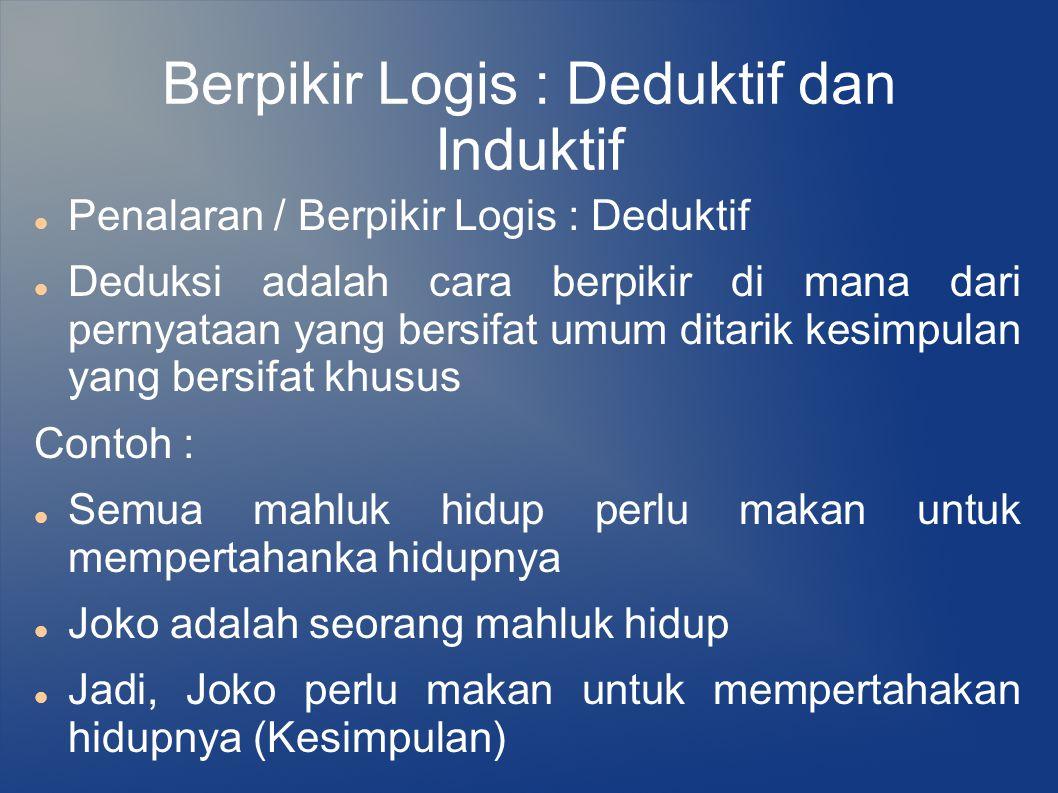 Berpikir Logis : Deduktif dan Induktif